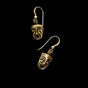 Comedy and Tragedy Mask Earrings DOUBLE SIDED